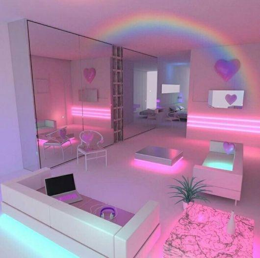 Efeitos de arco-íris no quarto de unicórnio