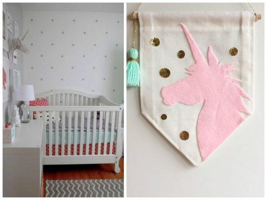 Detalhes decorativos de unicórnio para quarto de bebê
