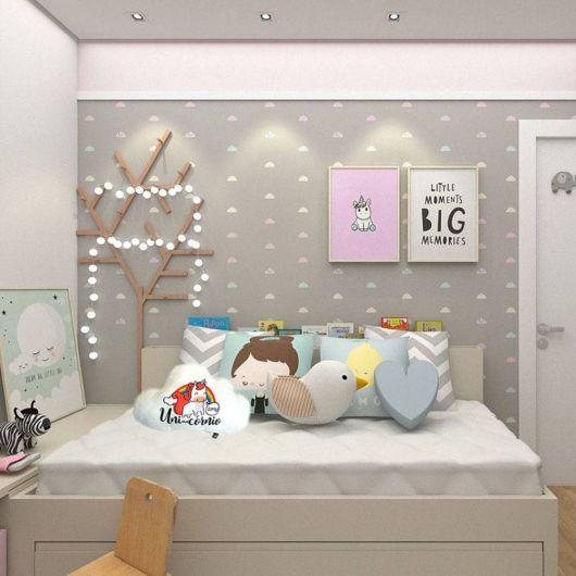 Ideia de decoração fofa para quarto de jovens