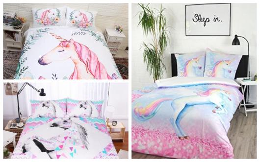 Um jogo de cama, por exemplo, também facilita a decoração do quarto unicórnio