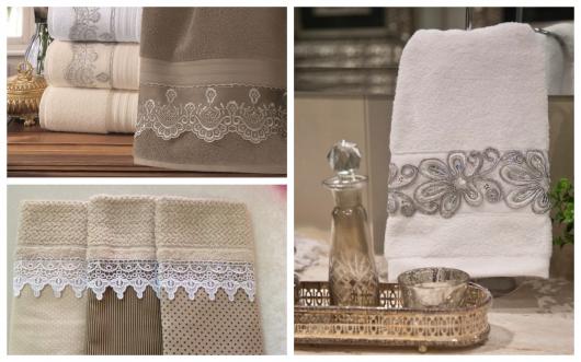 Detalhe da renda guipir nas toalhas de lavabo