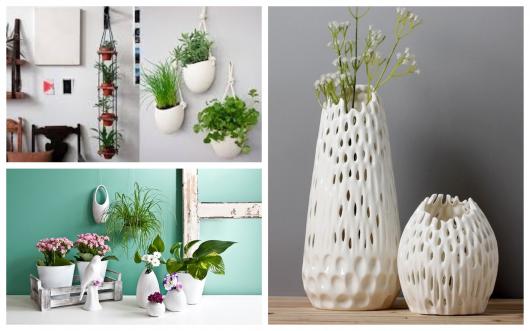 Há vasos brancos de todos os tamanhos, materiais e modelos