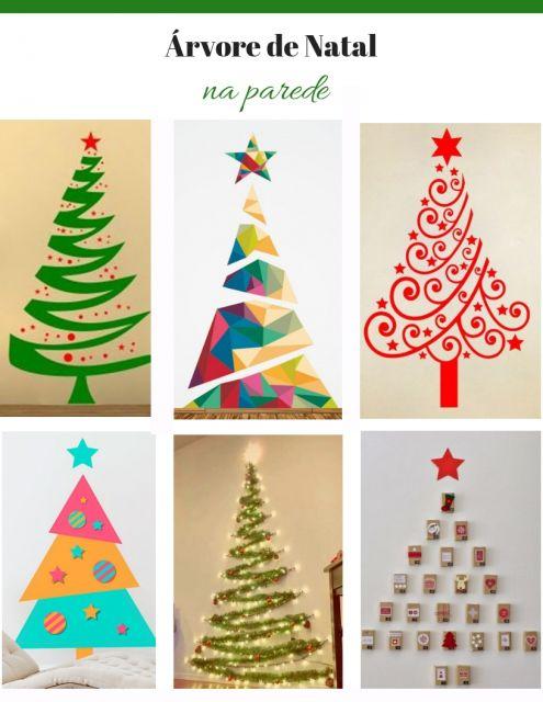 árvore de natal na parede adesivos nas cores, vermelho, verde, amarelo e laranja.