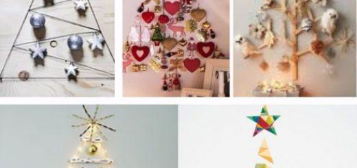 árvores de natal na parede com bolinhas decorativas.