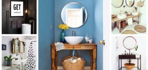 Montagem com diferentes decorações com enfeites para banheiro.