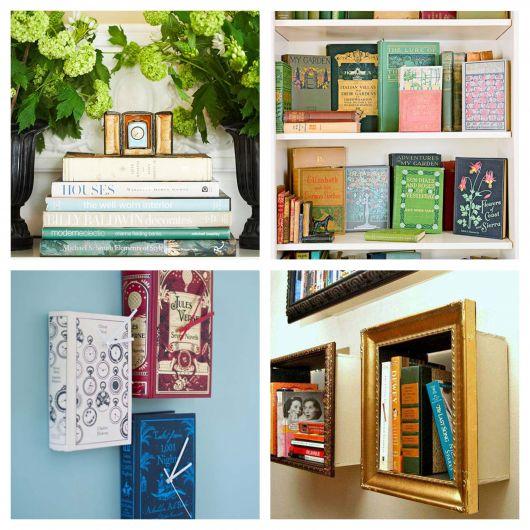 Atualmente há vários projetos que usam livros decorativos de maneira estratégica. Então, que tal se inspirar com mais de 60 ideias?