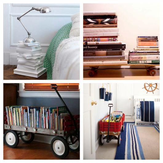 Então, que tal colocar os livros em compartimentos além das estantes e mesas de centro, como nessas ideias?