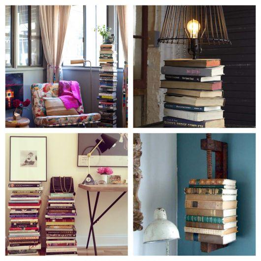 Se você quiser usar os livros como suporte, planeje algo funcional e que valorize a decoração