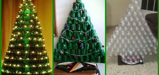 Árvore de Natal de garrafa pet inspirações