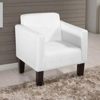 cadeira decorativa branca com pés de madeira marrom.