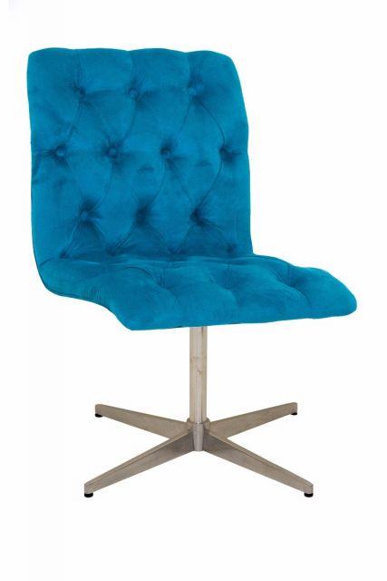 modelo de cadeira decorativa azul com pé inox.