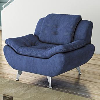 cadeira azul com pé inox.