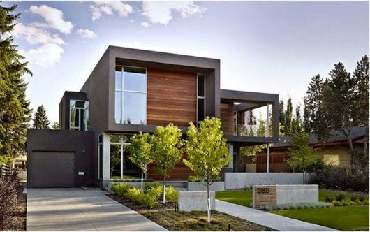 Linda casa moderna com fachada cinza escura