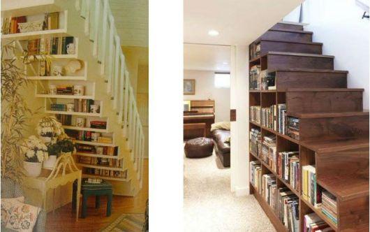 Crie nichos e aproveite frestas para por os livros