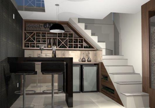 Sugestão de adega artesanal para por embaixo da escada