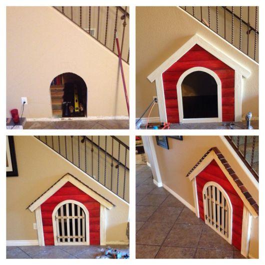 Ideia criativa de casinha de cachorro embaixo da escada