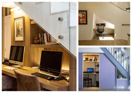 Sem lugar para trabalhar? Que tal então um home office embaixo da escada/
