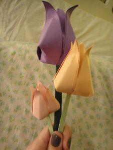 Dobradura de flor: Tulipa roxa