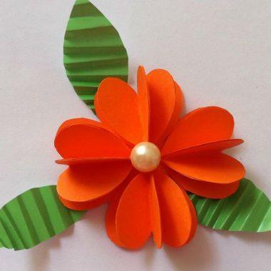 Dobradura de flor: Simples laranja
