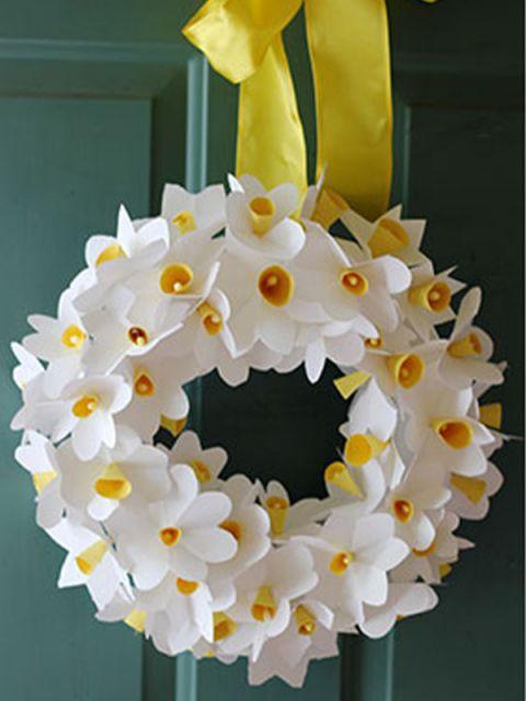 Dobradura de flor: Simples branca e amarela