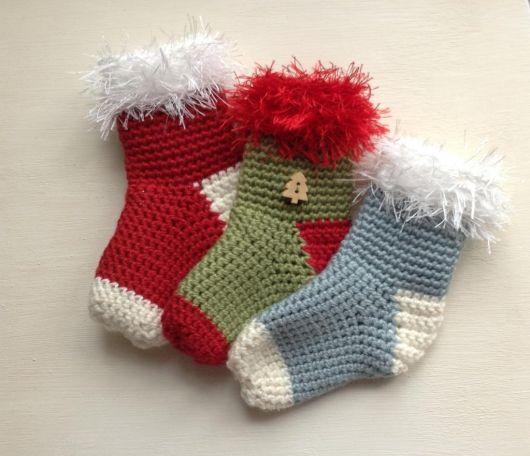 Outra sugestão de botinhas de Natal de crochê