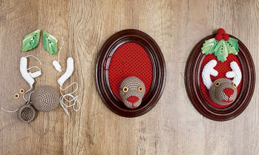 Você também pode fazer quadrinhos de crochê para o Natal