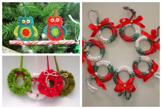 Personalize sua árvore de Natal com enfeites de crochê