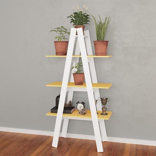 estante escada branco com amarelo.