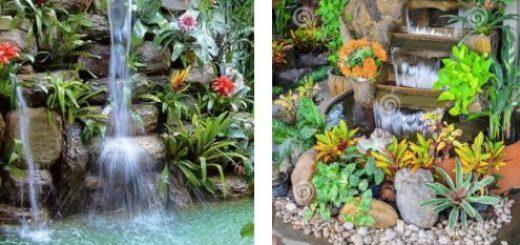 ilustração com varias fontes de água decorativas de jardins externos.