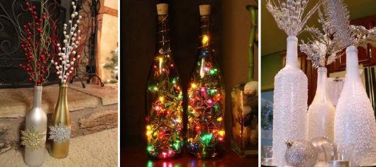 garrafas decoradas com luzes pisca pisca e tinta.