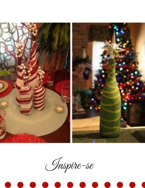 garrafas decoradas para o natal nas cores verde e vermelho com branco.