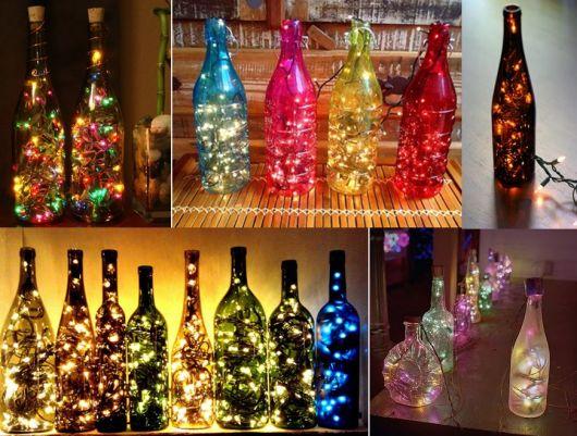 modelos diversos de garrafas decoradas para o natal.
