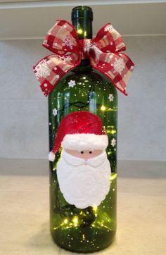 garrafas decoradas com papai noel.