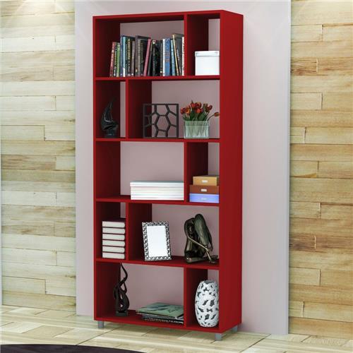 E essa estante vermelha? Perfeita para um projeto contemporâneo