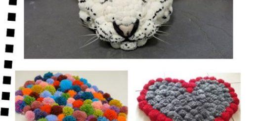 capa post com tapete pompom em formato de tigre, coração e modelo colorido.