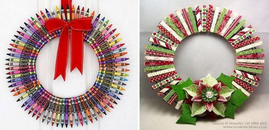 guirlandas de natal coloridas feitas de lápis de cor e prendedores.