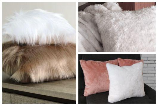 Você encontra almofadas de pelo de variadas cores