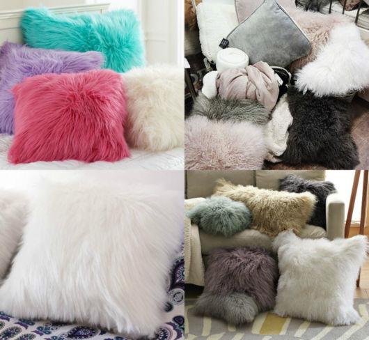 Aposte nas almofadas de pelo para criar decorações sofisticadas