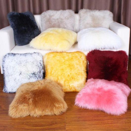 Veja a variedade de cores das almofadas de pelo