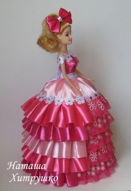Boneca de garrafa pet com vestido rosa