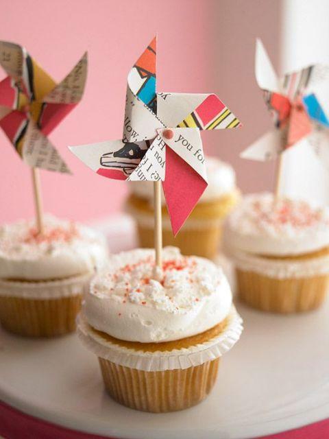 Catavento de papel para cupcake