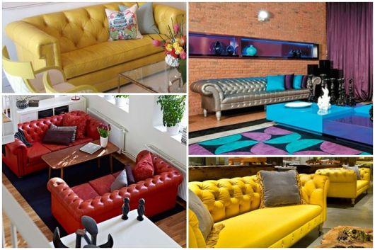 modelos coloridos de sofá de couro