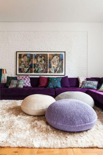 sala com sofá de canto moderno