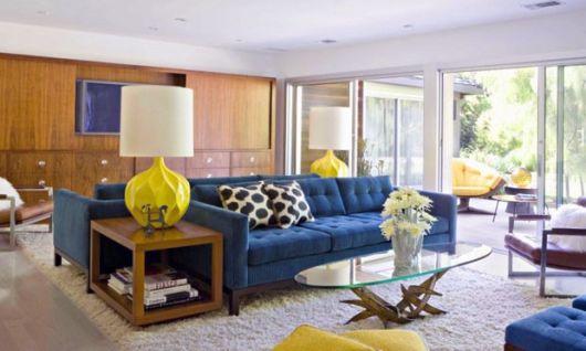 sofá azul sala moderna
