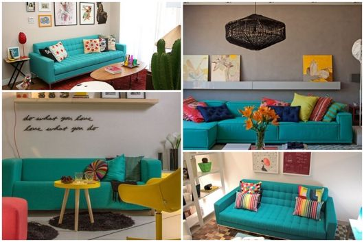 modelos de sofá turquesa