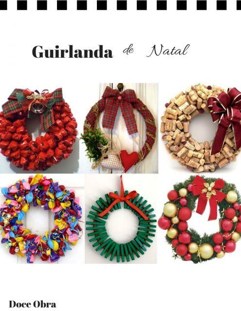 modelos de guirlandas natalinas nas cores vermelha, dourada, verde e colorida.