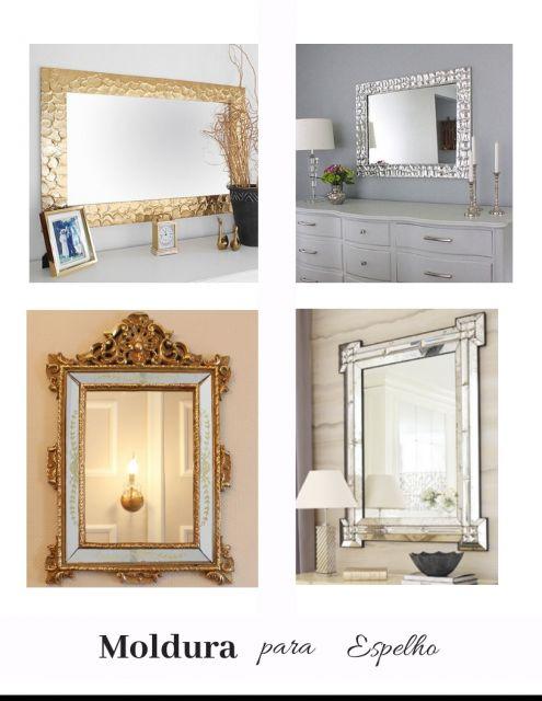 modelos de molduras para espelhos nas cores dourada e prateada.