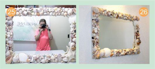 espelho com moldura de conchas.