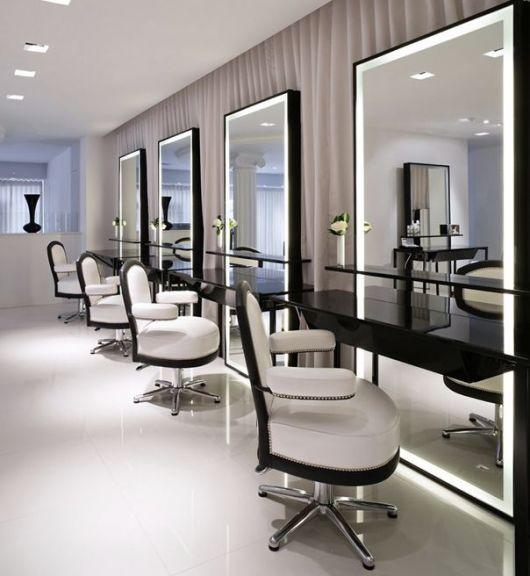 salão preto e branco