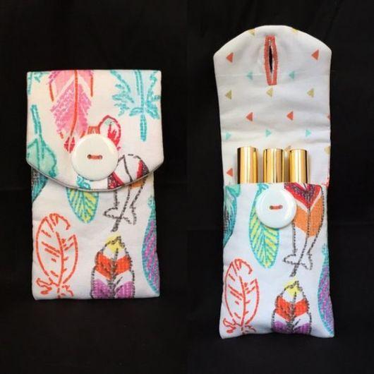 Porta-batom: Em tecido estampado